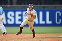 Hank Truluck (15) of the Florida State Seminoles hustles towards third base against the North Carolina Tar Heels in the 2017 ACC Baseball Championship Game at Louisville Slugger Field on May 28, 2017 in Louisville, Kentucky. The Seminoles defeated the Tar Heels 7-3. (Brian Westerholt/Four Seam Images)