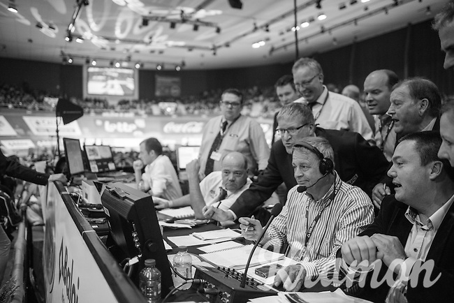 the race jury checking the foto-finish (after a close call) before announcing a winner<br /> <br /> 2016 Gent 6<br /> day 6