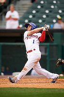 Buffalo Bisons shortstop Jonathan Diaz (1) at bat during a game against the Columbus Clippers on July 19, 2015 at Coca-Cola Field in Buffalo, New York.  Buffalo defeated Columbus 4-3 in twelve innings.  (Mike Janes/Four Seam Images)