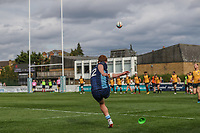 Rory Jennings of London Scottish attempting a conversion  during the Greene King IPA Championship match between London Scottish Football Club and Ealing Trailfinders at Richmond Athletic Ground, Richmond, United Kingdom on 8 September 2018. Photo by David Horn.
