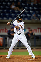 Pensacola Blue Wahoos Shrimp pinch hitter Narciso Crook (8) at bat during a game against the Jacksonville Jumbo on August 15, 2018 at Blue Wahoos Stadium in Pensacola, Florida.  Jacksonville defeated Pensacola 9-2.  (Mike Janes/Four Seam Images)