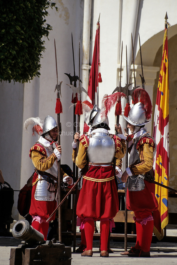 Valletta, Malta. Participants in Costume for Historic In Guardia Re-enactment, Fort Saint Elmo.