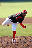 Batavia Muckdogs relief pitcher Jose Rada (56) during the first game of a double header vs. the Connecticut Tigers at Dwyer Stadium in Batavia, New York July 10, 2010.   Batavia defeated Connecticut 5-3.  Photo By Mike Janes/Four Seam Images