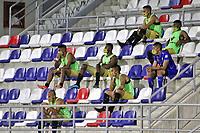 BARRANQUILLA-COLOMBIA, 20-09-2020: Jugadores de Rionegro Aguilas Doradas, durante partido entre Atletico Junior y Rionegro Aguilas Doradas, de la fecha 9 de los cuadrangulares semifinales de los cuadrangulares semifinales por la Liga Águila II 2019, jugado en el estadio Romelio Martinez de la ciudad de Barranquilla. / Players of Rionegro Aguilas Doradas, during a match between Atletico Junior and Rionegro Aguilas Doradas of the 9th date for the BetPlay DIMAYOR I Leguaje 2020 played at the Romelio Martinez Stadium in Barranquilla city. / Photo: VizzorImage / Jairo Cassiani / Cont.