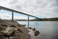 Friday 28 April 2017<br /> Pictured: The Bridge as it stands today<br /> Re: Phill Loyd who was the first person on the scene when the Cleddau bridge collapsed during it's construction. On 2 June 1970 a 70 m (230 ft) cantilever being used to put one of the 150-ton sections into position collapsed on the Pembroke Dock-side of the estuary narrowly missing houses in the village of Pembroke Ferry