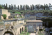 Italy: Herculaneum--view of City, north to south of westward, coastal side of town. Shows extent of inundation. Lower right, small baths. Photo '83.