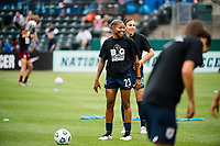 TACOMA, WA - JULY 31: Tziarra King #23 of the OL Reign during a game between Racing Louisville FC and OL Reign at Cheney Stadium on July 31, 2021 in Tacoma, Washington.
