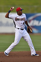 Tennessee Smokies shortstop Addison Russell #4 during a game against the Jacksonville Suns at Smokies Park July 10, 2014 in Kodak, Tennessee. The Suns defeated the Smokies 6-5. (Tony Farlow/Four Seam Images)