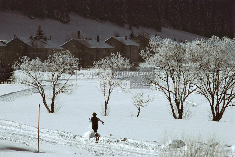 Europe/France/Franche Comté/39 /Jura/Env de Les Rousses/Bois d'Amont: Ski de Fond // France, Jura, Les Rousses, Cross-country skiing at Bois d'Amont