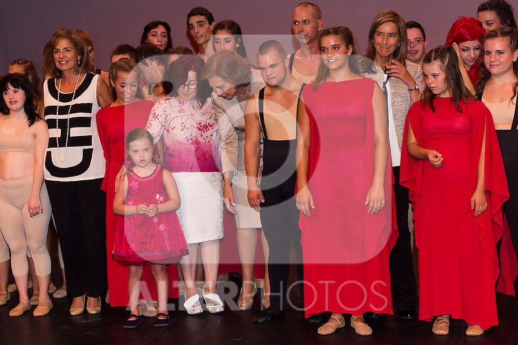 20.09.2012. Queen Sofia of Spain, accompanied by the mayor of Madrid Ana Botella,  the Minister of Health, Social Services and Equality Ana Mato and the Foundation ONCE president, Miguel Carballeda, attend the inauguration of the IV Biennial of Contemporary Art Foundation ONCE, in the Conde Duque Cultural Centre in Madrid. In the image (L-R ) Ana Botella, Queen Sofia and Ana Mato (Alterphotos/Marta Gonzalez)