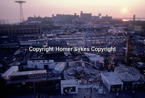 General view of Coney Island New York New Jersey  USA Circa 1970.