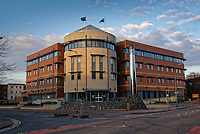 Pictured: Cardiff Bay police station, south Wales, UK. <br /> Re: Police officer Erica Ray sent a picture of a young child with photoshopped adult male genitals to colleagues in a WhatsApp group, a misconduct panel has heard in Bridgend, Wales, UK.<br /> Constable Erica Ray, who works for South Wales Police sent the image as part of an ongoing joke at the expense of another officer's height, a police misconduct panel heard.<br /> The picture caused offence to some officers in the group who deleted the picture from their own devices and later referred the matter to their supervisors.<br /> The behaviour amounted to discreditable conduct said presenting counsel for South Wales Police, Jonathan Walters.<br /> PC Ray had been working in the management of sex offenders and violent offenders team at Cardiff Bay police station when the incident occurred on December 15, 2017.