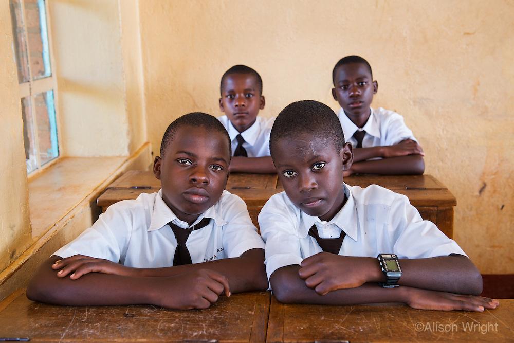 AWright_UG_005823.tif<br /> Students at St. Henrys College Kitovu, a private boys Catholic School. These are some of the nine attending boys that have BRAC Mastercard scholarships through the The Mastercard Scholars Program BRAC. Masaka, Uganda, Africa
