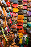 Marrakesh, Morocco.  Leather Purses and Bags for Sale.