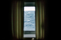 The open waters of the Barents Sea viewed from a cabin onboard the ice-breaking vessel 'Fedor Ushakov'.