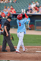 Peoria Chiefs right fielder Wadye Ynfante (3) celebrates after hitting a home run during a Midwest League game against the Bowling Green Hot Rods at Dozer Park on May 5, 2019 in Peoria, Illinois. Peoria defeated Bowling Green 11-3. (Zachary Lucy/Four Seam Images)