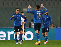 FBL- Friendly  football match Italy vs Estonia at the Artemio Franchi stadium in Florence on November 11, 2020.<br /> Italy's  Federico Bernardeschi (l) celebrates after scoring with his teammates during the friendly football match between Italy snd Estonia at the Artemio Franchi stadium in Florence on November 11, 2020. <br /> UPDATE IMAGES PRESS/Isabella Bonotto