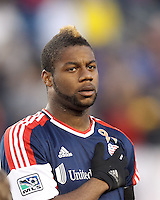 New England Revolution defender Andrew Farrell (2).In a Major League Soccer (MLS) match, the New England Revolution (blue/red) defeated Philadelphia Union (blue/white), 2-0, at Gillette Stadium on April 27, 2013.