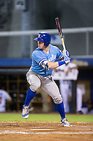 Chris DeVito (34) of the Burlington Royals at bat against the Danville Braves at American Legion Post 325 Field on August 16, 2016 in Danville, Virginia.  The game was suspended due to a power outage with the Royals leading the Braves 4-1.  (Brian Westerholt/Four Seam Images)