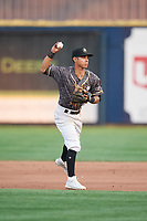 Quad Cities River Bandits second baseman Alfredo Angarita (2) throws to first base during a game against the West Michigan Whitecaps on July 22, 2018 at Modern Woodmen Park in Davenport, Iowa.  West Michigan defeated Quad Cities 6-4.  (Mike Janes/Four Seam Images)