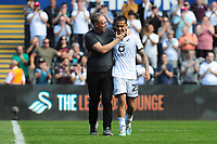 Steve Cooper Head Coach of Swansea City celebrates with Yan Dhanda of Swansea City at full time during the Sky Bet Championship match between Swansea City and Birmingham City at the Liberty Stadium in Swansea, Wales, UK. Sunday 25, August 2019