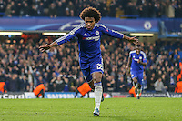 Willian of Chelsea celebrates scoring his team's second goal against Dynamo Kyiv to make it 2-1 during the UEFA Champions League Group match between Chelsea and Dynamo Kyiv at Stamford Bridge, London, England on 4 November 2015. Photo by David Horn.