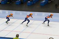 SPEEDSKATING: 22-11-2019 Tomaszów Mazowiecki (POL), ISU World Cup Arena Lodowa, Team Sprint Ladies (NED), Sanneke de Neeling, Jutta Leerdam, Michelle de Jong, ©photo Martin de Jong