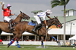 WELLINGTON, FL - MARCH 05: Diego Cavanagh of Valiente (white) takes a shot on goal while 10 goaler Facundo Pieres of Orchard Hill watches as Valiente defeats Orchard Hill 14-11, in the 26 goal CV Whitney Cup Final, at the International Polo Club, Palm Beach on February 26, 2017 in Wellington, Florida. (Photo by Liz Lamont/Eclipse Sportswire/Getty Images)