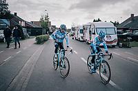 Eli Iserbyt (BEL/Marlux-Napoleon Games) & Michael Vanthourenhout (BEL/Marlux-Napoleon Games) on their way to the course recon<br /> <br /> Super Prestige Ruddervoorde / Belgium 2017