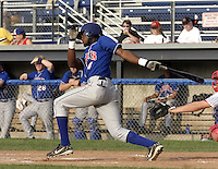 July 12, 2004:  Eugenio Velez of the Auburn Doubledays, Short-Season Single-A affiliate of the Toronto Blue Jays, during a game at Dwyer Stadium in Batavia, NY.  Photo by:  Mike Janes/Four Seam Images