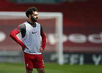 24th April 2021; Anfield, Liverpool, Merseyside, England; English Premier League Football, Liverpool versus Newcastle United; Mohammed Salah of Liverpool during the pre match warm up