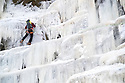 03/01/19<br /> <br /> After one of the coldest nights of the year, an ice climber makes his way up the frozen face of Kinder Downfall which is normally a 30 metre high waterfall that flows off Kinder Scout in the Derbyshire Peak District.<br /> <br /> All Rights Reserved, F Stop Press Ltd +44 (0)7765 242650  www.fstoppress.com rod@fstoppress.com