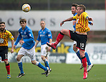 Partick Thistle v St Johnstone.....14.03.15<br /> Ryan Stevenson battles with Chris Millar<br /> Picture by Graeme Hart.<br /> Copyright Perthshire Picture Agency<br /> Tel: 01738 623350  Mobile: 07990 594431