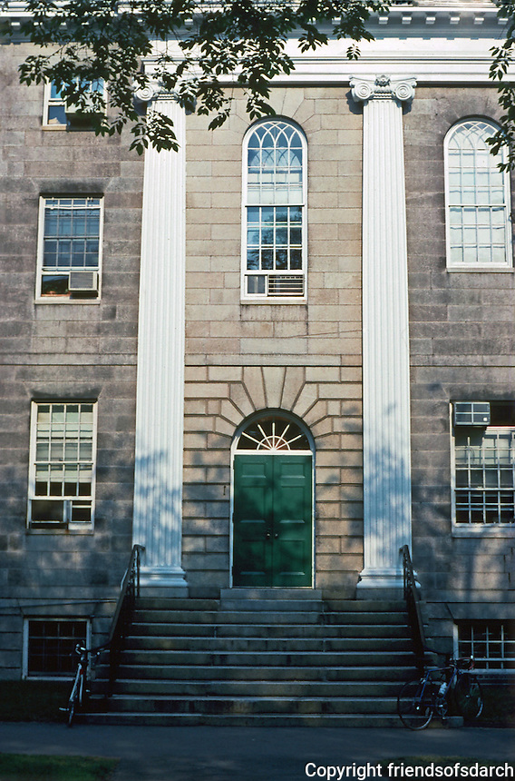Cambridge:  Harvard Yard-University Hall (1813-14), Charles Bullfinch.  Note long pilasters framing entrance.  Photo '88.