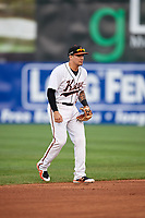 Frederick Keys shortstop Alejandro Juvier (6) during the second game of a doubleheader against the Lynchburg Hillcats on June 12, 2018 at Nymeo Field at Harry Grove Stadium in Frederick, Maryland.  Frederick defeated Lynchburg 8-1.  (Mike Janes/Four Seam Images)