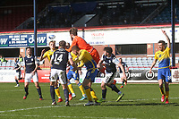 3rd April 2021; Dens Park, Dundee, Scotland; Scottish FA Cup Football, Dundee FC versus St Johnstone; St Johnstone goalkeeper ZanderClark spills the ball in the incident from which Danny Mullen of Dundee scored only for the goal to be disallowed