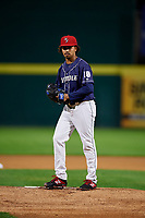 Binghamton Rumble Ponies starting pitcher Harol Gonzalez (18) gets ready to deliver a pitch during a game against the Portland Sea Dogs on August 31, 2018 at NYSEG Stadium in Binghamton, New York.  Portland defeated Binghamton 4-1.  (Mike Janes/Four Seam Images)