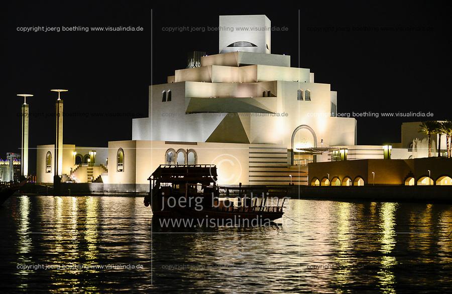 QATAR, Doha, museum for islamic arts at night / KATAR, Doha, Museum fuer islamische Kunst