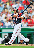 5 September 2011: Washington Nationals outfielder Jonny Gomes in action against the Los Angeles Dodgers at Nationals Park in Los Angeles, District of Columbia. The Nationals defeated the Dodgers 7-2 in the first game of their 4-game series. Mandatory Credit: Ed Wolfstein Photo