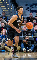 WASHINGTON, DC - JANUARY 28: Jordan Tucker #1 of Butler moves into the attck during a game between Butler and Georgetown at Capital One Arena on January 28, 2020 in Washington, DC.
