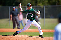 Dartmouth Big Green relief pitcher Chris Burkholder (16) delivers a pitch during a game against the Eastern Michigan Eagles on February 25, 2017 at North Charlotte Regional Park in Port Charlotte, Florida.  Dartmouth defeated Eastern Michigan 8-4.  (Mike Janes/Four Seam Images)