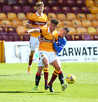27th September 2020; Fir Park, Motherwell, North Lanarkshire, Scotland; Scottish Premiership Football, Motherwell versus Rangers; Steven Davis of Rangers gets to grips with Liam Polworth of Motherwell