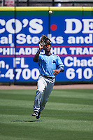 Charlotte Stone Crabs left fielder Bralin Jackson (24) catches a fly ball during a game against the Clearwater Threshers on April 13, 2016 at Bright House Field in Clearwater, Florida.  Charlotte defeated Clearwater 1-0.  (Mike Janes/Four Seam Images)