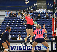 Kyla Clubb (21) of Har-ber goes up for spike against Southside  on Tuesday, October 12, 2021, during play at Wildcat Arena, Springdale. Visit nwaonline.com/211013Daily/ for today's photo gallery.<br /> (Special to the NWA Democrat-Gazette/David Beach)