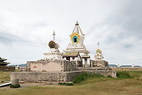Mongolia, Ovorkhangai Province, Kharakhorum. Stupas at Erdene Zuu, Mongolia's largest monastery. Basan Lama is the Abbot of this Buddhist monastery.