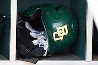 Baylor Bears helmet before the NCAA Regional baseball game on June 3, 2012 at Baylor Ball Park in Waco, Texas. Baylor defeated Oral Roberts 5-2. (Andrew Woolley/Four Seam Images)