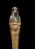 Ancient Egyptian Sarcophagus coffin of Tamutmutef, chantress of Amun, 18th Dynasty, (1550 to 1292 BC), Thebes. Egyptian Museum, Turin. black background.<br /> <br /> The Tamutmutef sarcophagus belongs to a group of 18th Dynasty coffins characterised by the representation of the deceased wearing everyday clothes instead of as a mummy. It is carved in relief to reveal the pleated linen dress eith arms and feet sticking out from the pleats of the cloth. This coffin may have been reused from earlier use updated with dense yellow decorations.