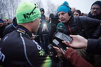 Sporza reporter Renaat Schotte interviewing Sven Nys (BEL/Crelan-AAdrinks) after the race<br /> <br /> Soudal Classic Leuven 2016