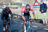 Mathieu Van der Poel (NED/Alpecin-Fenix) attacked with 80km remaining with Jhonatan Narváez (ECU/INEOS Grenadiers) joining him to go catch the breakaway group > Team Deceuninck - QuickStep manager Patrick Lefevere looking by from the roadside<br /> <br /> 73rd Kuurne - Brussels - Kuurne 2021<br /> ME (1.Pro)<br /> 1 day race from Kuurne to Kuurne (BEL/197km)<br /> <br /> ©kramon