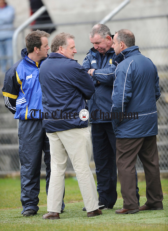 Selector Alan Cunningham and manager Mike Mc Namara with Clare GAA chairman Michalel O Neill and Bernard Keane after the game Photograph by John Kelly.